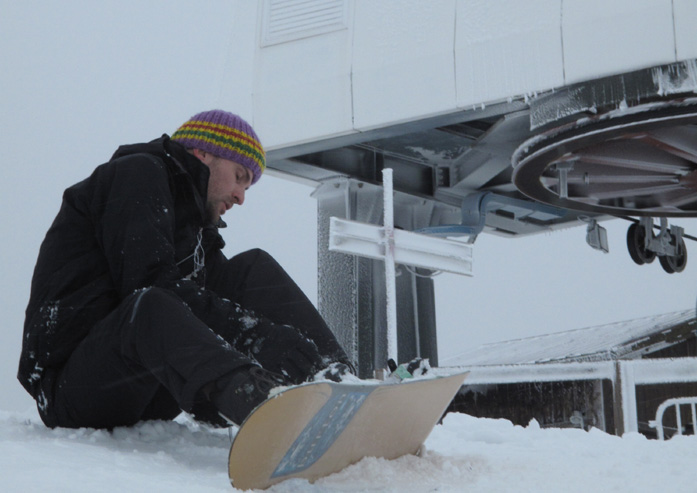 Daniele Carrer while snowboarding