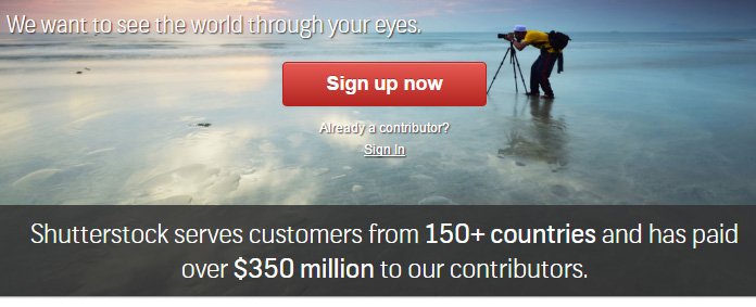 Shutterstock website saying they pay $350 milion to their contributors