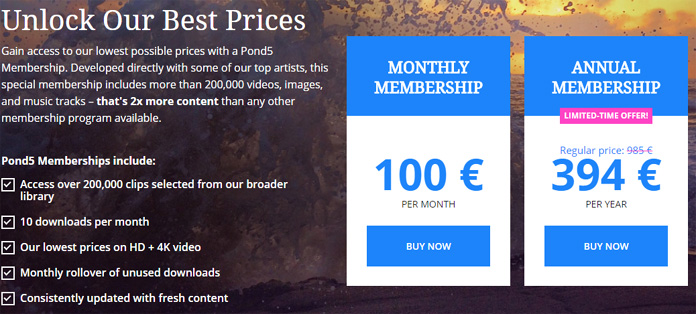 Pond5 membership area prices