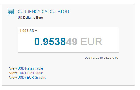 Currency exchange from dollars to euro