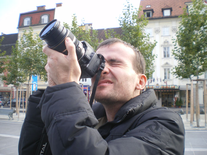 Daniele Carrer in Klagenfurt while shooting stock images