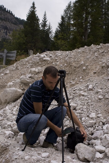 Daniele Carrer before shooting a time-lapse in the Dolomites