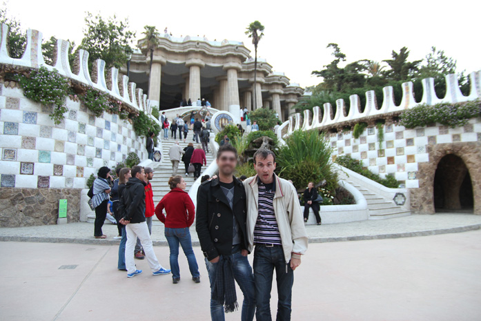 Daniele Carrer in Barcelona with a friend