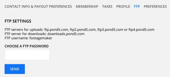 Pond5 FTP parameters