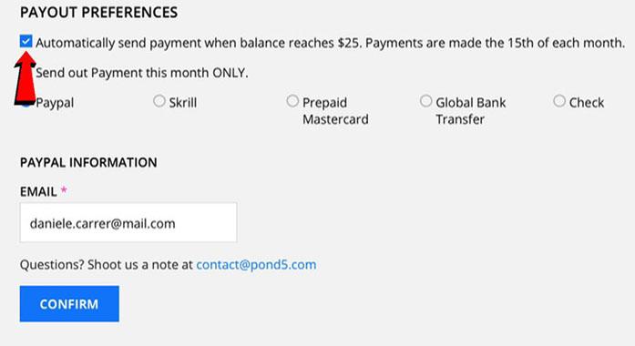 Pond5 payout preferences page