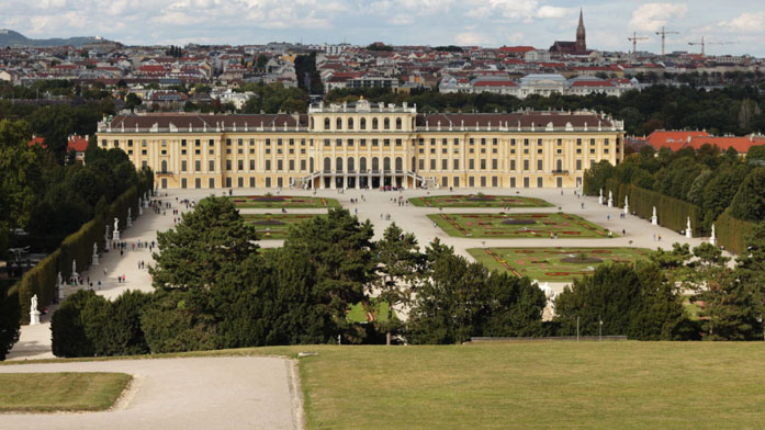 Frame taken from stock footage of Schoenbrunn palace, Vienna