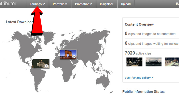 Shutterstock sales report page