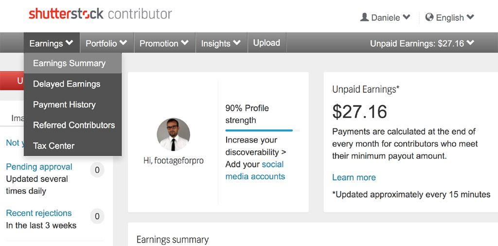 Screenshot of Shutterstock dashboard