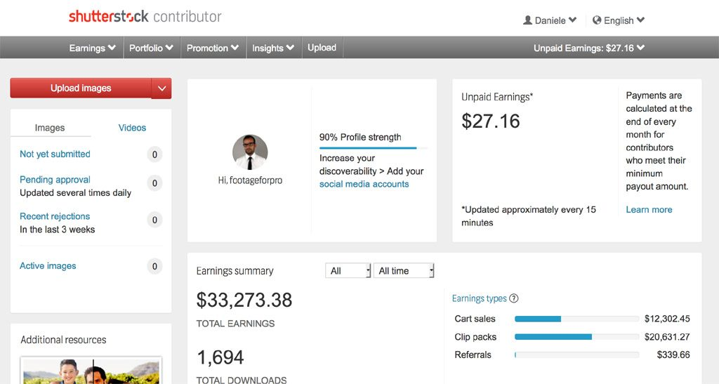 Screenshot of Shutterstock dashboard