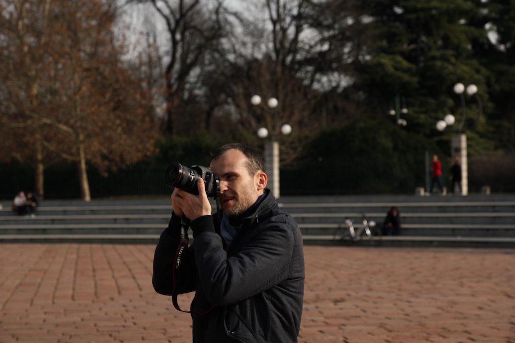 Daniele Carrer shooting photos in Milan