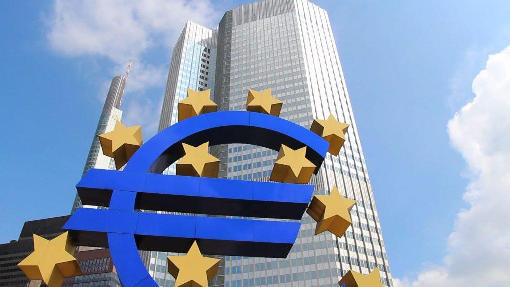 Euro symbol and European Central Bank skyscraper