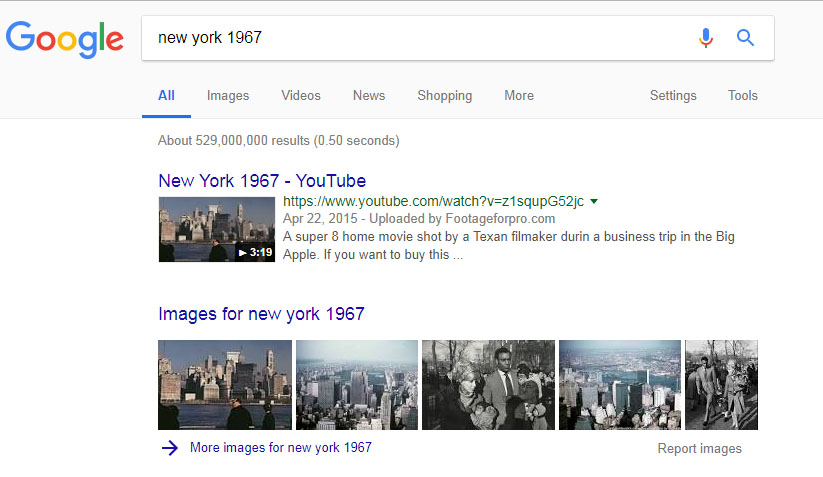 "Google SERP for the query ""New York 1967"""