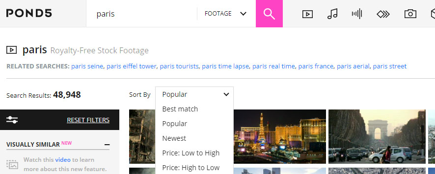 "Screenshot of the ""Popular"" SERP with the query Paris on Pond5"