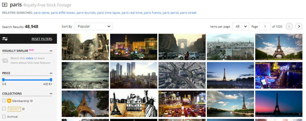 Screenshot of the most sold stock footage with the keyword Paris on Pond5