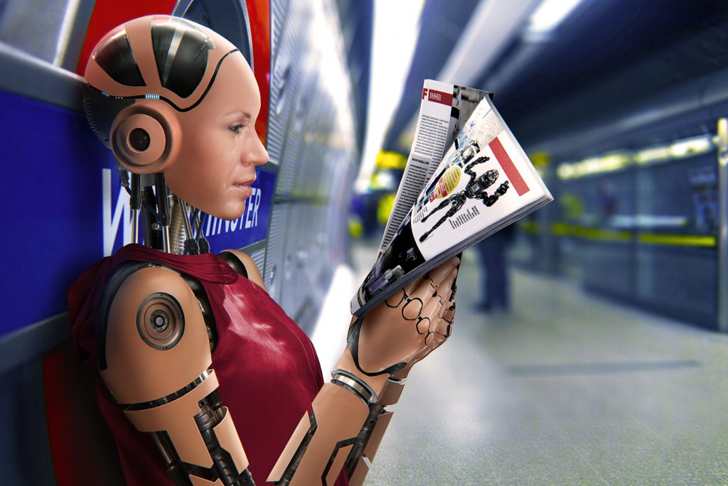 Cyborg reading a magazine while waiting for the underground