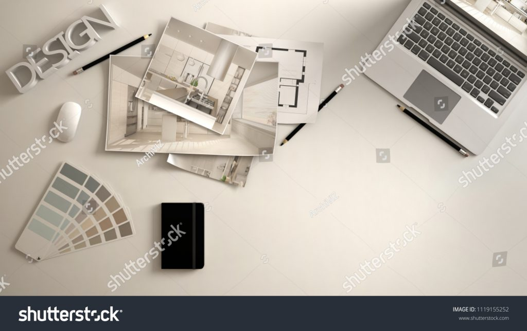 Stock image of a designer desktop published on Shutterstock