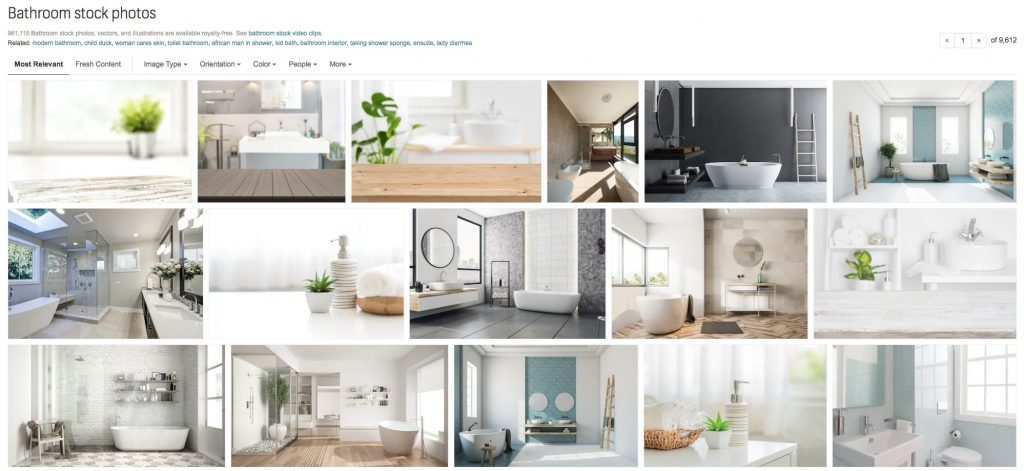 "Screenshot of Shutterstock SERP for the query ""bathroom"""