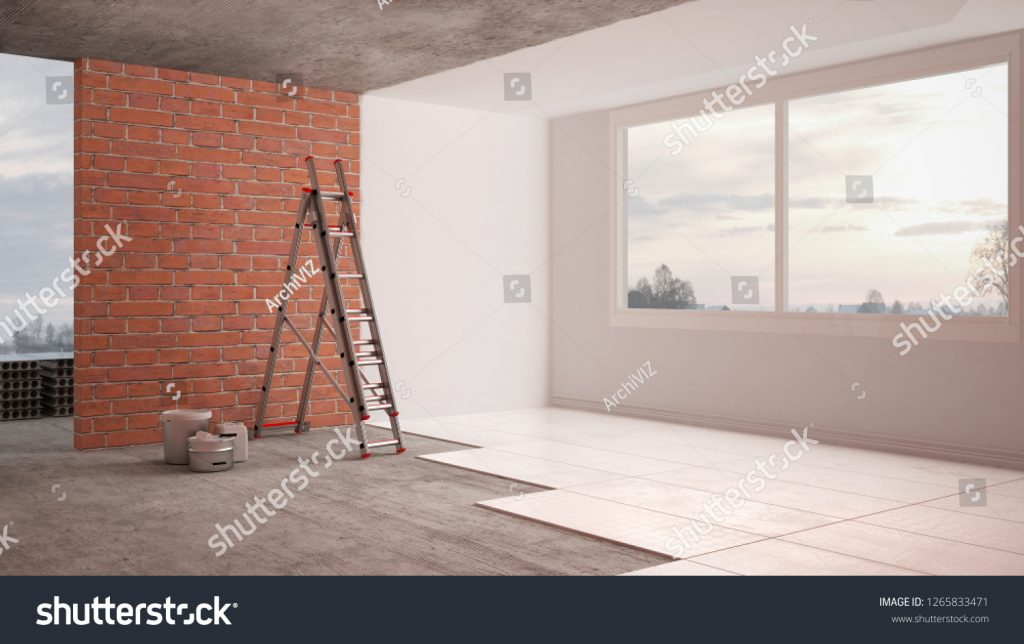 Stock image of a room during a restoration published on Shutterstock