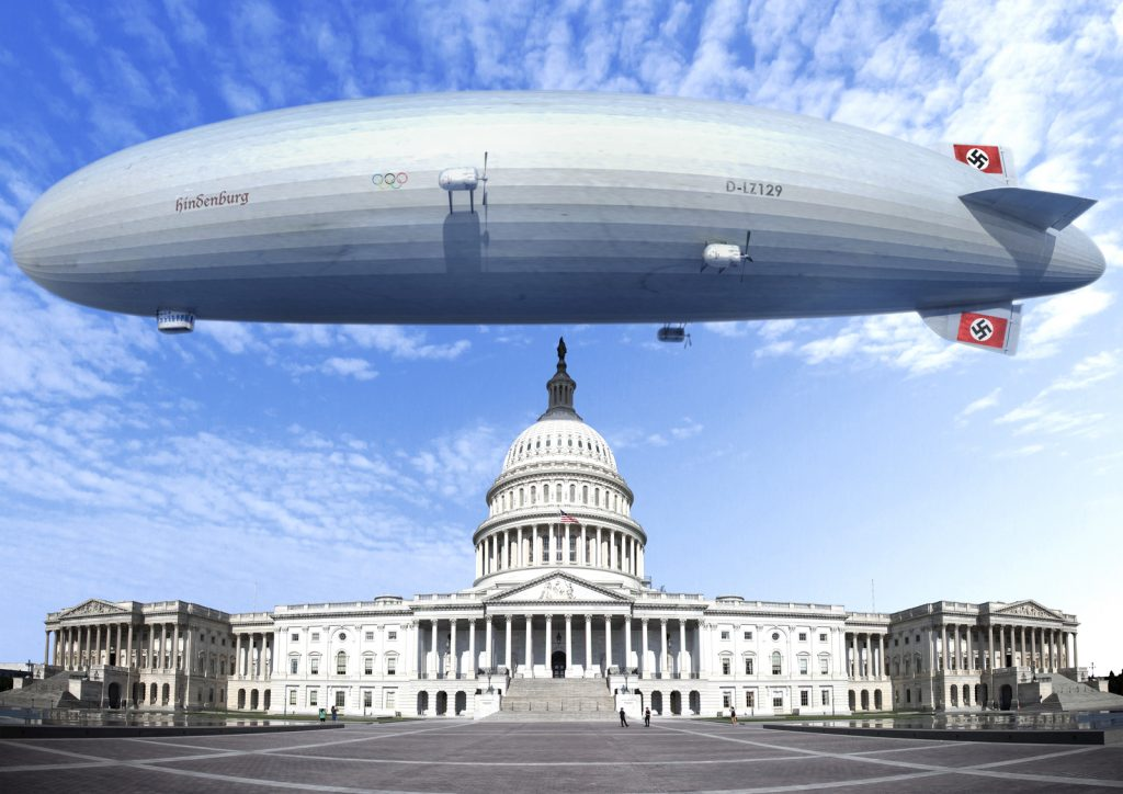 Nazi airship Hindenburg above the Capitol in Washington