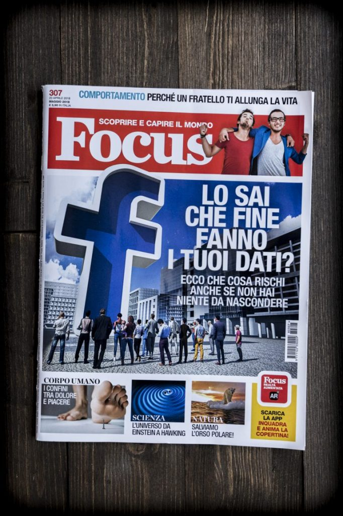 Magazine cover with Facebook logo