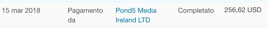 Pond5 PayPal report of payment