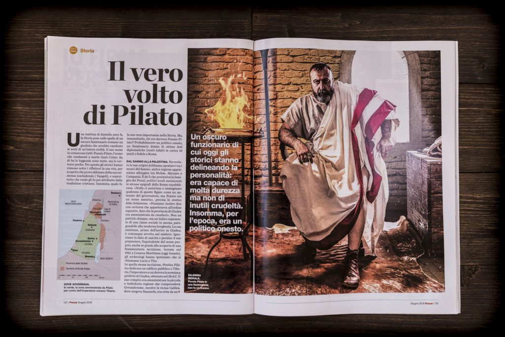 Pontius Pilate on the page of a magazine