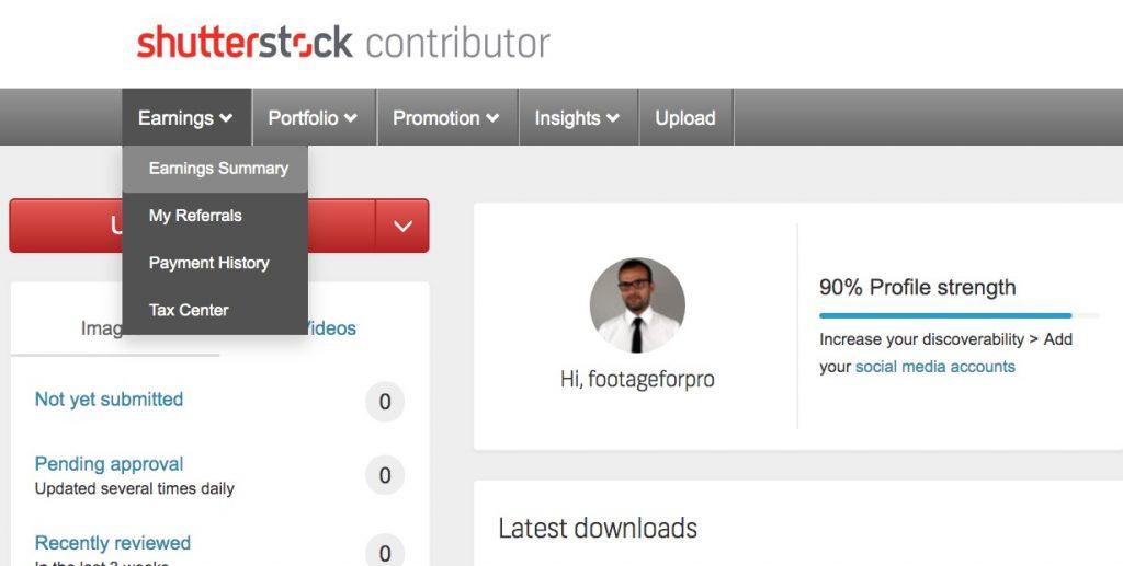 Shutterstock dashboard for contributors