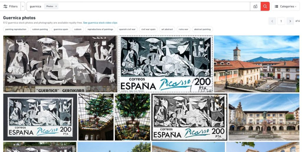 "Shutterstock results on ""La Guernica"" painting stock images"