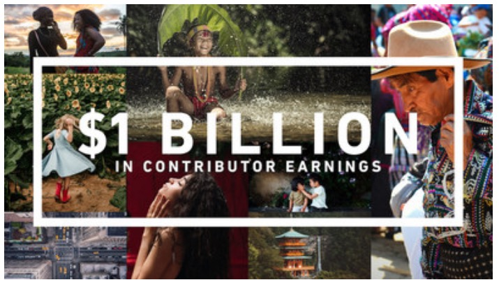 Shutterstock billboard to celebrate the first billion dollars paid to its contributors