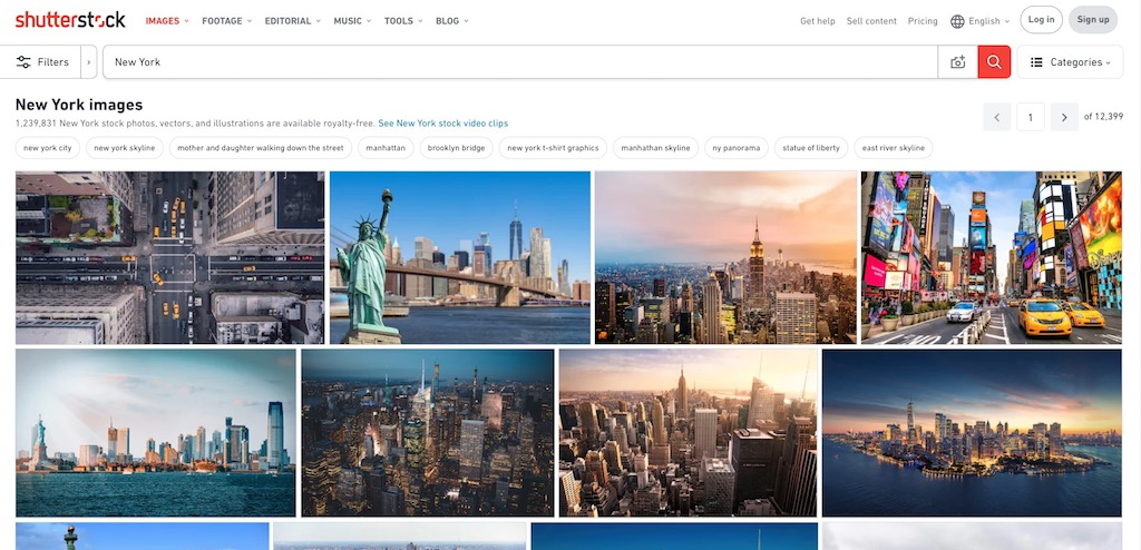 "Shutterstock results for the search of stock images with the keyword ""New York"""