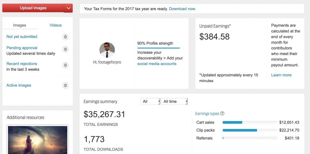 Shutterstock dashboard