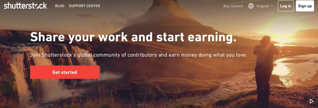 Shutterstock homepage for applying for becoming a contributor