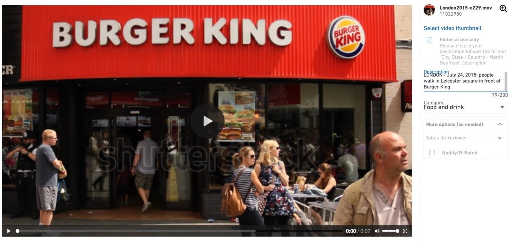 Stock footage of Burger King published on Shutterstock