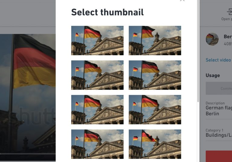 Shutterstock thumbnail selection window