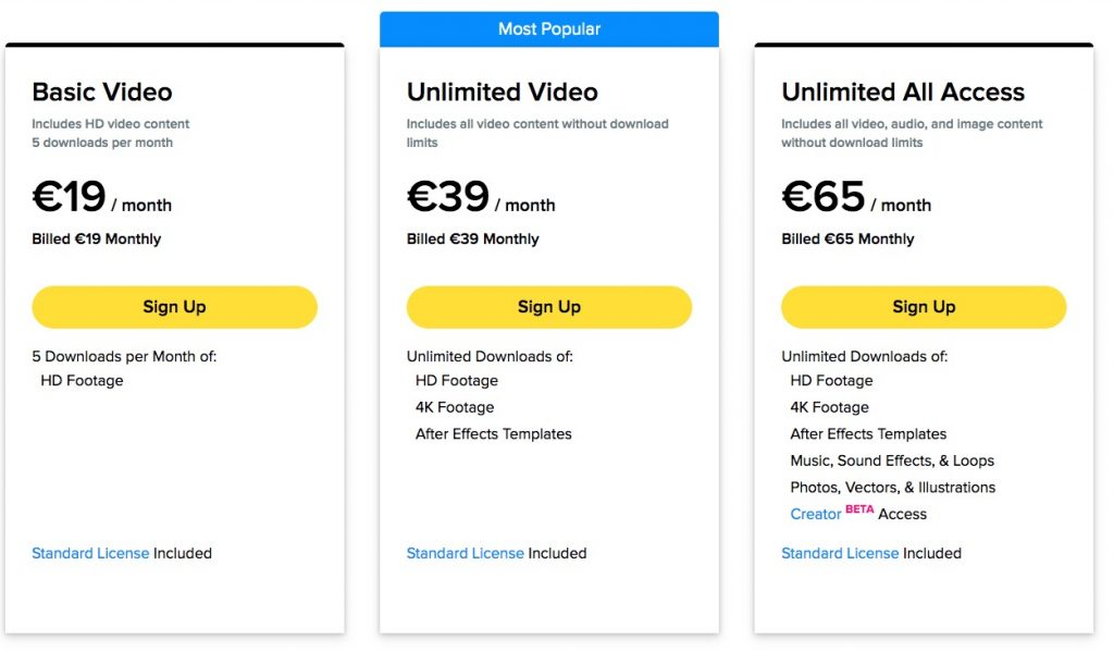 Storyblocks prices for monthly subscription