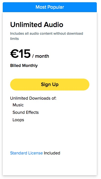 Storyblocks price for the monthly subscription in the audio collection