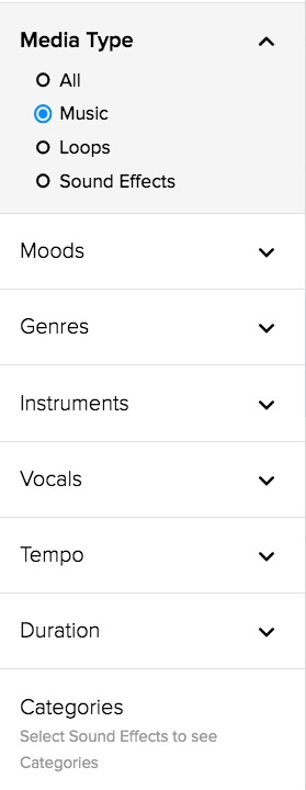Storyblocks filters selection on the music collection