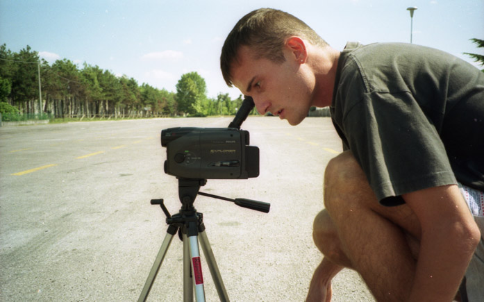 Daniele Carrer while shooting a video in 1998
