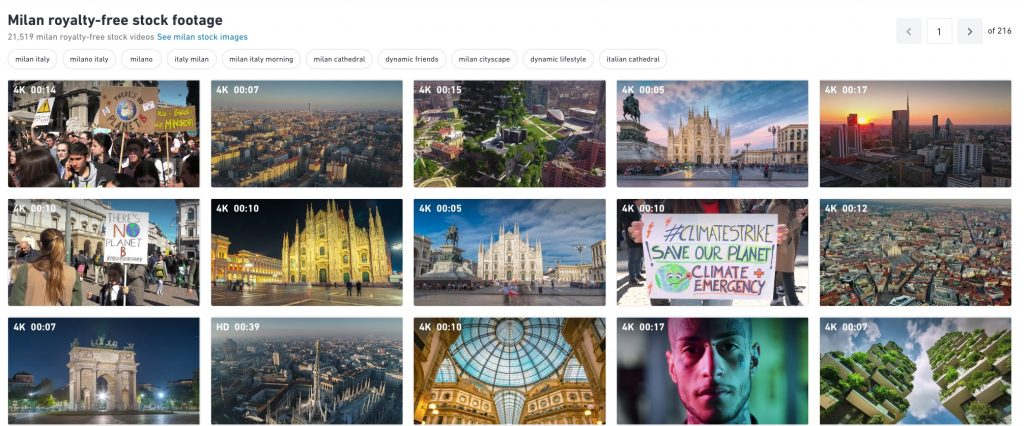 Shutterstock results for searching for footage 4K of Milan