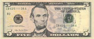 A 5 dollars banknote